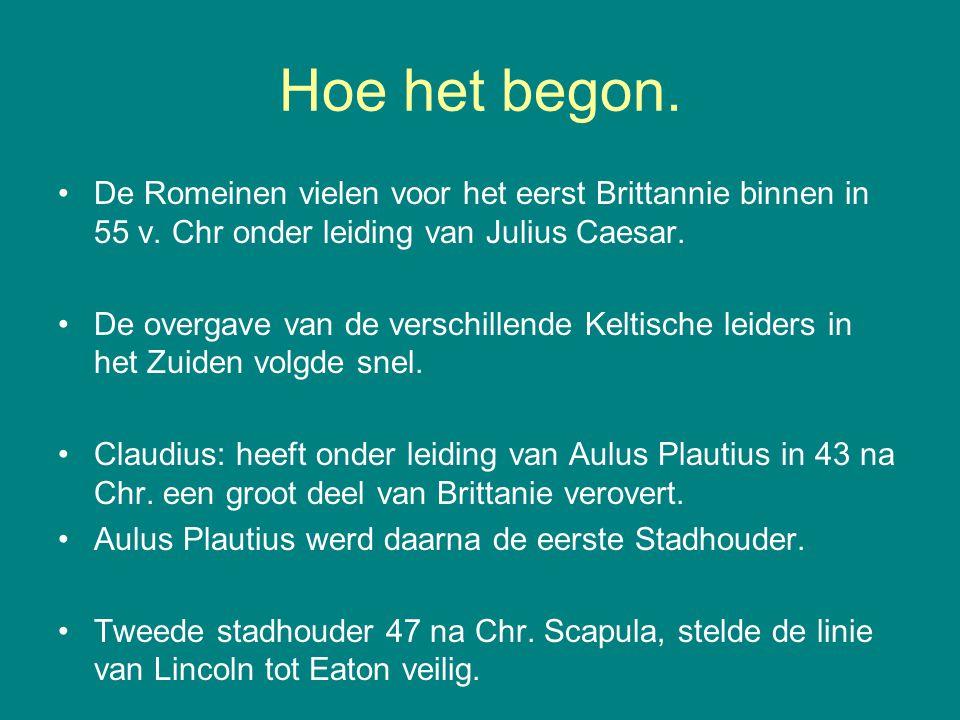 Hoe het begon. De Romeinen vielen voor het eerst Brittannie binnen in 55 v. Chr onder leiding van Julius Caesar. De overgave van de verschillende Kelt