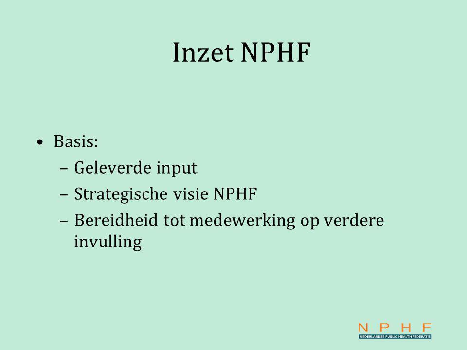 Inzet NPHF Basis: –Geleverde input –Strategische visie NPHF –Bereidheid tot medewerking op verdere invulling