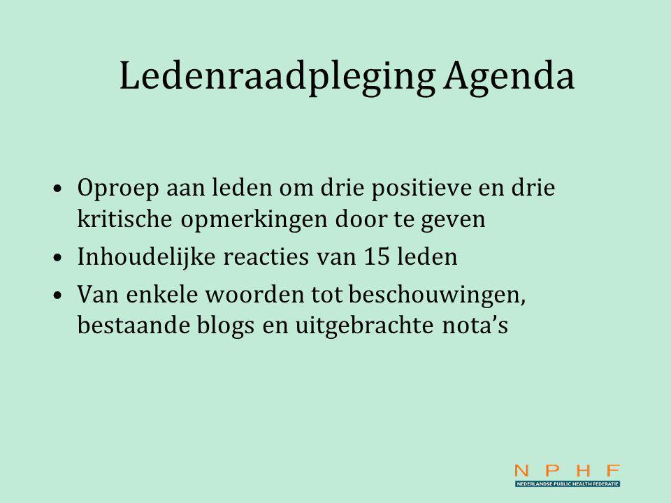 Ledenraadpleging Agenda Oproep aan leden om drie positieve en drie kritische opmerkingen door te geven Inhoudelijke reacties van 15 leden Van enkele woorden tot beschouwingen, bestaande blogs en uitgebrachte nota's
