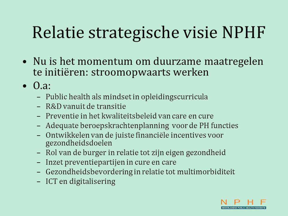 Relatie strategische visie NPHF Nu is het momentum om duurzame maatregelen te initiëren: stroomopwaarts werken O.a: –Public health als mindset in opleidingscurricula –R&D vanuit de transitie –Preventie in het kwaliteitsbeleid van care en cure –Adequate beroepskrachtenplanning voor de PH functies –Ontwikkelen van de juiste financiële incentives voor gezondheidsdoelen –Rol van de burger in relatie tot zijn eigen gezondheid –Inzet preventiepartijen in cure en care –Gezondheidsbevordering in relatie tot multimorbiditeit –ICT en digitalisering
