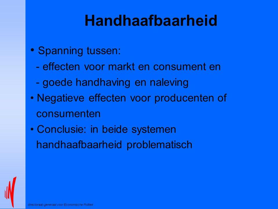directoraat-generaal voor Economische Politiek Handhaafbaarheid Spanning tussen: - effecten voor markt en consument en - goede handhaving en naleving