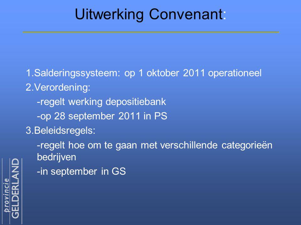Uitwerking Convenant: 1.Salderingssysteem: op 1 oktober 2011 operationeel 2.Verordening: -regelt werking depositiebank -op 28 september 2011 in PS 3.B