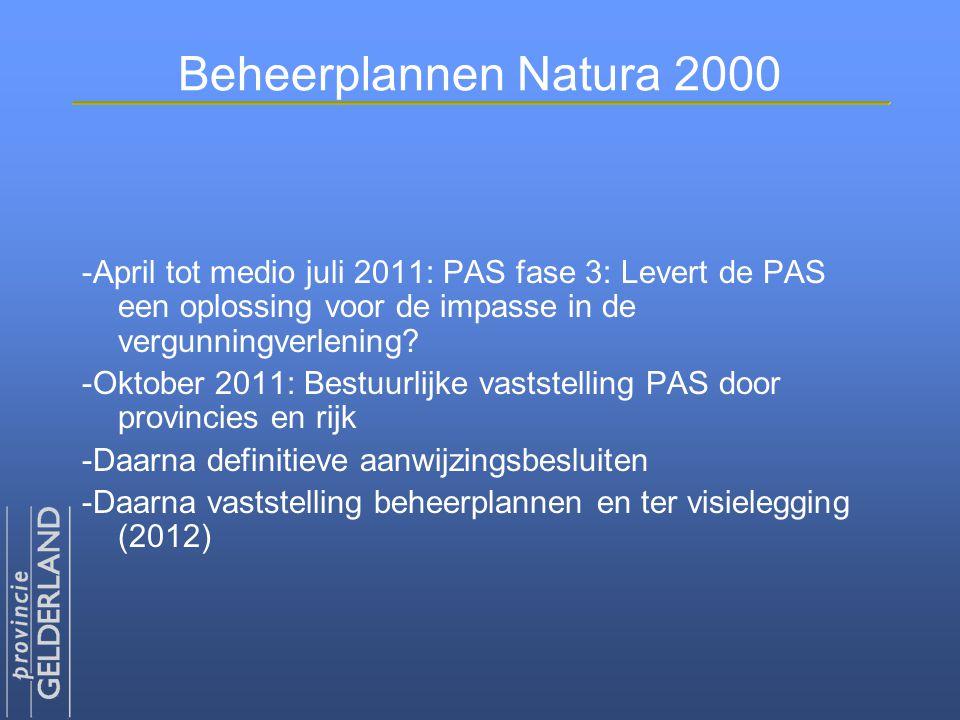 Beheerplannen Natura 2000 -April tot medio juli 2011: PAS fase 3: Levert de PAS een oplossing voor de impasse in de vergunningverlening? -Oktober 2011