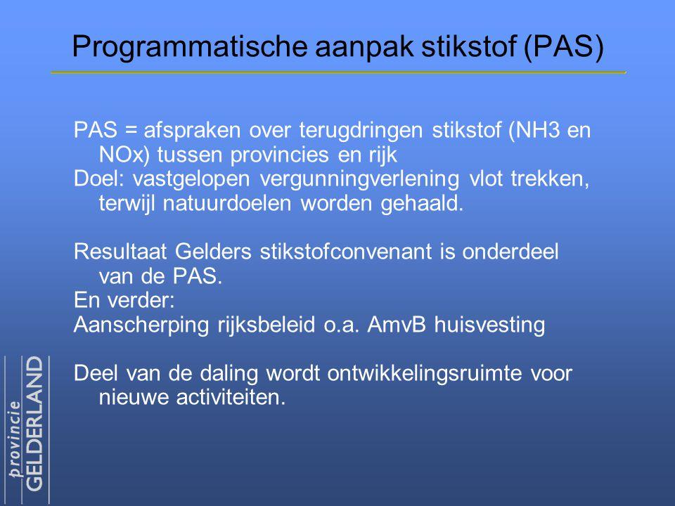 Programmatische aanpak stikstof (PAS) PAS = afspraken over terugdringen stikstof (NH3 en NOx) tussen provincies en rijk Doel: vastgelopen vergunningve
