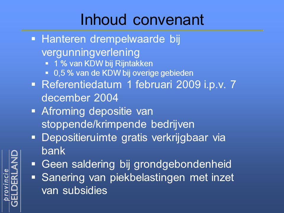 Inhoud convenant  Hanteren drempelwaarde bij vergunningverlening  1 % van KDW bij Rijntakken  0,5 % van de KDW bij overige gebieden  Referentiedat