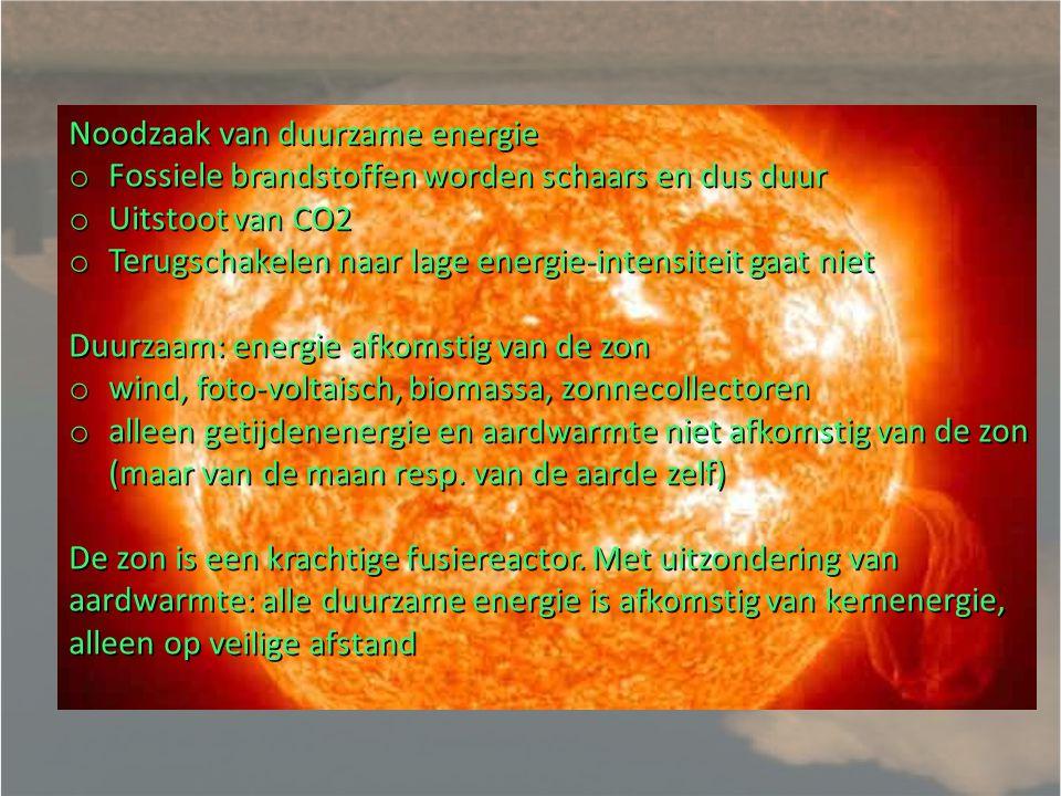 Ideale vorm van energie (warmte en kracht): Duurzaam: geen gebrek in minimaal 1000 jaar Geen CO2 uitstoot of andere vervuiling van milieu Geen aanslag op natuur of voedselbronnen Geen radioactief afval Geen kans op catastrofes Goedkoop/betaalbaar ook in 3 e wereld Dag en nacht, 24/7, beschikbaar Overal op aarde beschikbaar, geen mono (-oligo)-polies op voorraden, technologie of kennis Decentraal toepasbaar: niet afhankelijk van grote infrastructuren Tihange is duidelijk niet ideaal: Niet duurzaam: Uranium is over 70 jaar schaars, Thermische vervuiling van de Maas Kans op catastrofe: meltdown Onopgelost probleem van radioactief afval Massieve schaal