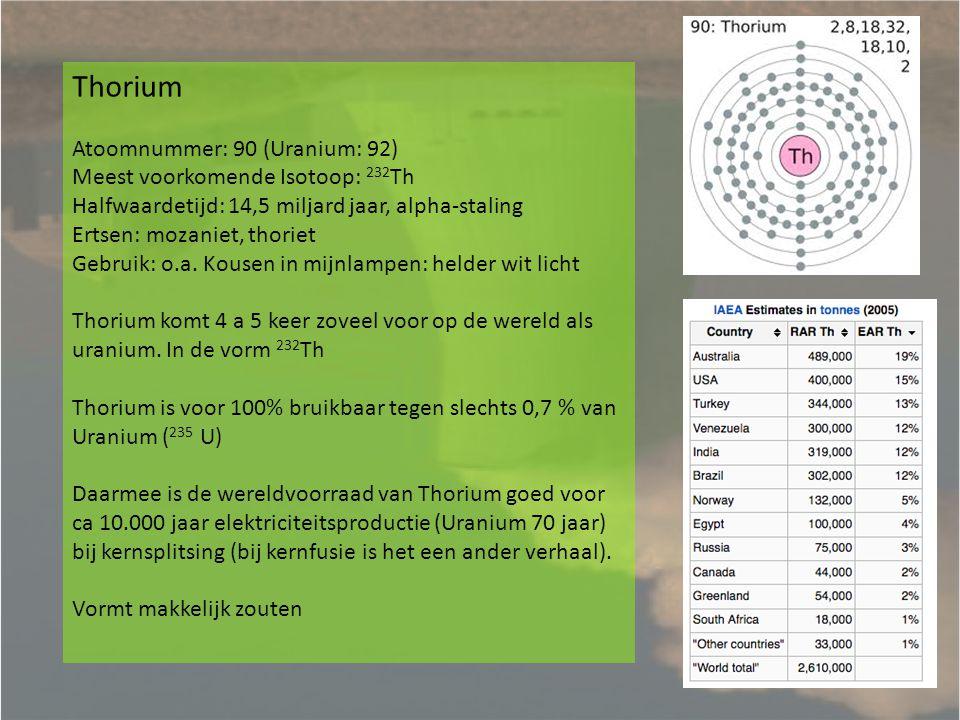 Thorium als brandstof Thorium kent geen kettingreactie zoals Uranium: moet aangestraald worden.
