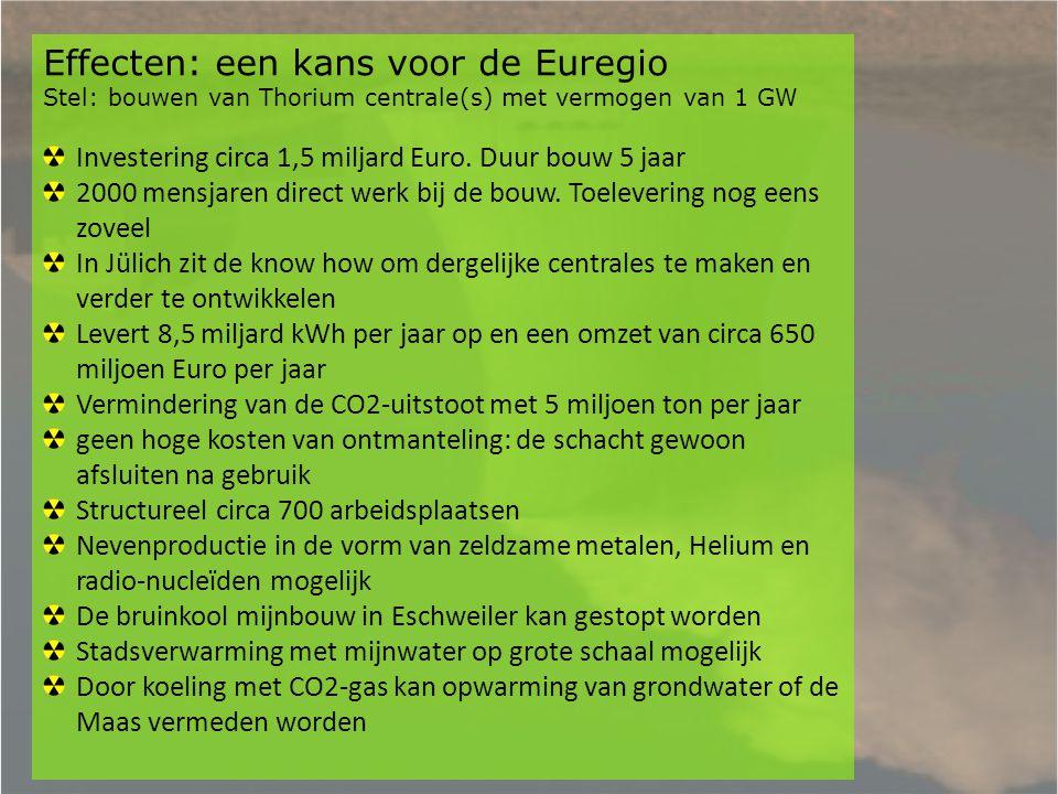 Effecten: een kans voor de Euregio Stel: bouwen van Thorium centrale(s) met vermogen van 1 GW Investering circa 1,5 miljard Euro. Duur bouw 5 jaar 200
