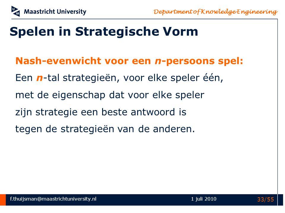 f.thuijsman@maastrichtuniversity.nl Department of Knowledge Engineering 1 juli 2010 33/55 Spelen in Strategische Vorm Nash-evenwicht voor een n-persoo