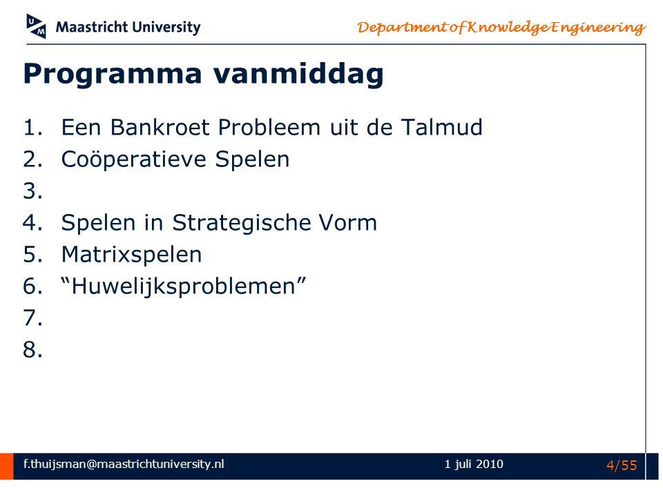 f.thuijsman@maastrichtuniversity.nl Department of Knowledge Engineering 1 juli 2010 4/55 Programma vanmiddag 1.Een Bankroet Probleem uit de Talmud 2.C