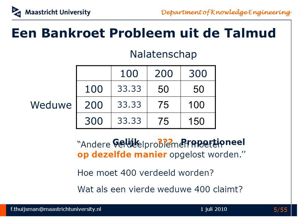 f.thuijsman@maastrichtuniversity.nl Department of Knowledge Engineering 1 juli 2010 16/55 100200300 A 10033.3350 B 20033.3375100 C 30033.3375150 S Ø ABCABACBCABC v(S)0000000100 (100,0,0) (0,100,0) (0,0,100) de nucleolus Talmud-spelen