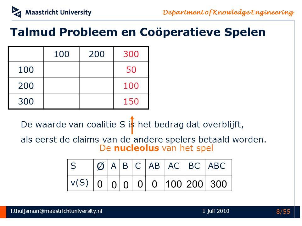f.thuijsman@maastrichtuniversity.nl Department of Knowledge Engineering 1 juli 2010 8/55 De waarde van coalitie S is het bedrag dat overblijft, als ee