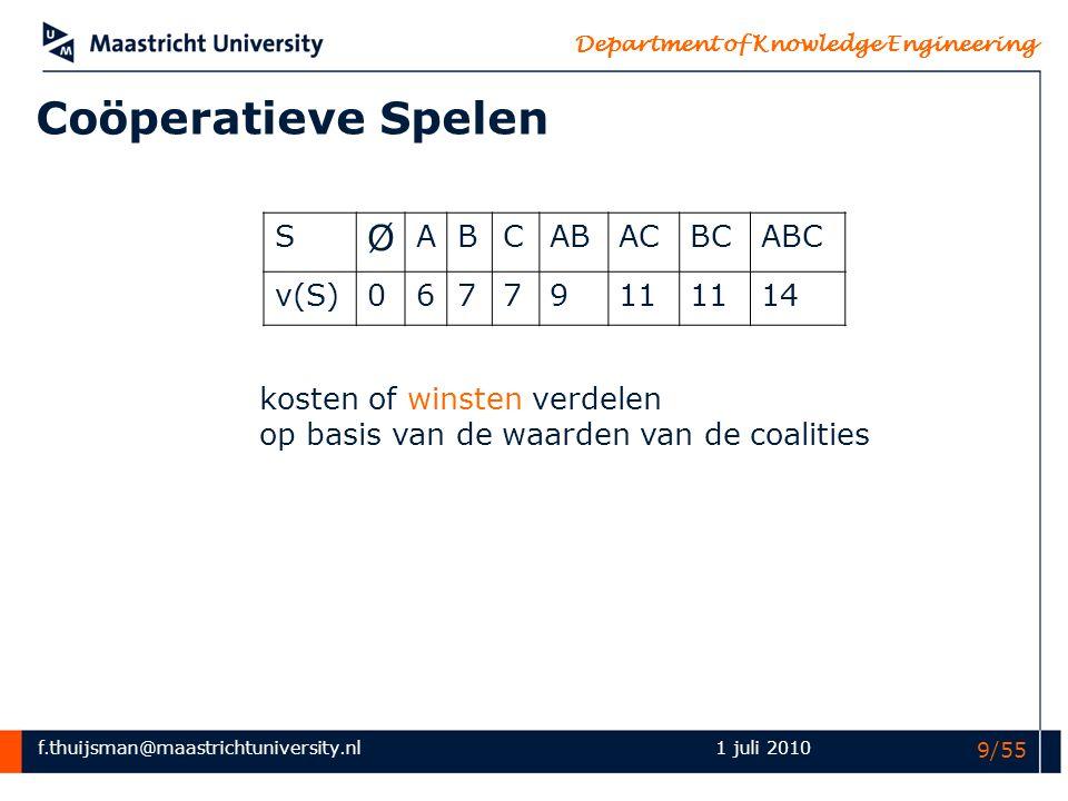 f.thuijsman@maastrichtuniversity.nl Department of Knowledge Engineering 1 juli 2010 20/55 100200300 10033.3350 20033.3375100 30033.3375150 Talmud-spelen S Ø ABCABACBCABC v(S)00000100200300 (300,0,0) (0,300,0) (0,0,300) de nucleolus