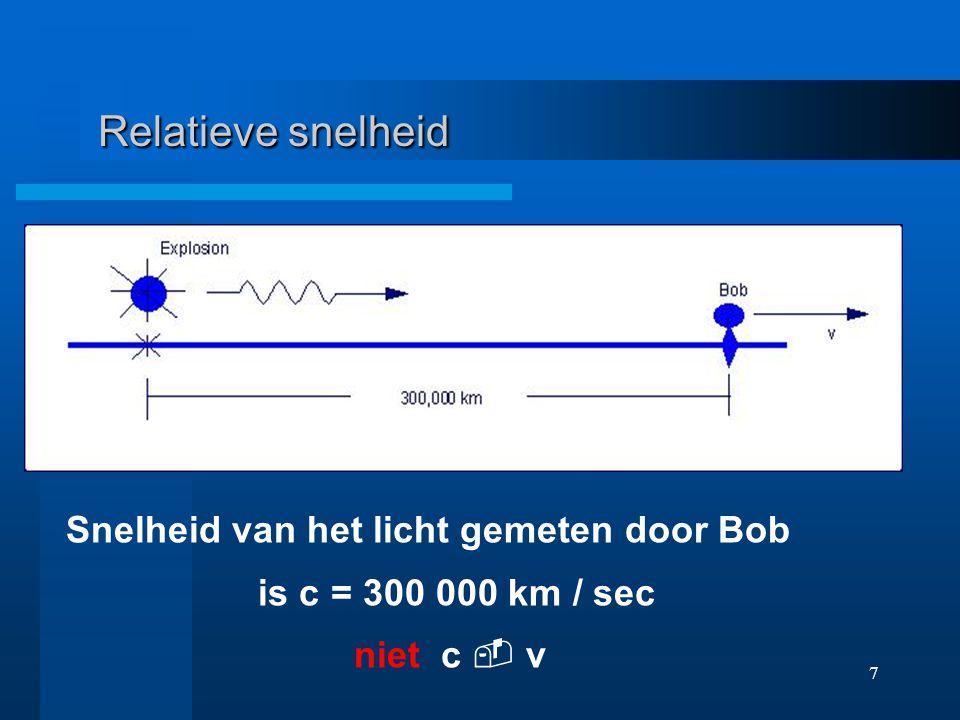 6 Relatieve snelheid Snelheid van geluid in lucht is c Snelheid van waarnemer t.o.v. lucht is v Relatieve snelheid is c - v