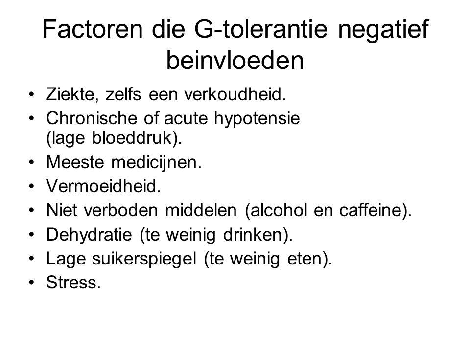 Factoren die G-tolerantie negatief beinvloeden Ziekte, zelfs een verkoudheid. Chronische of acute hypotensie (lage bloeddruk). Meeste medicijnen. Verm