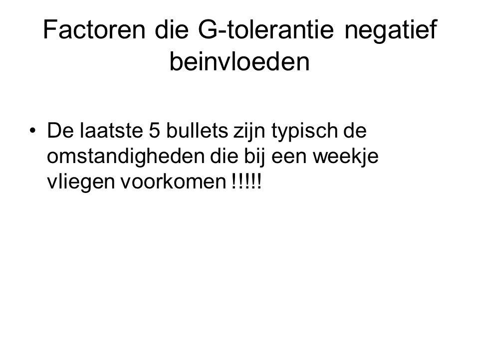 Factoren die G-tolerantie negatief beinvloeden De laatste 5 bullets zijn typisch de omstandigheden die bij een weekje vliegen voorkomen !!!!!