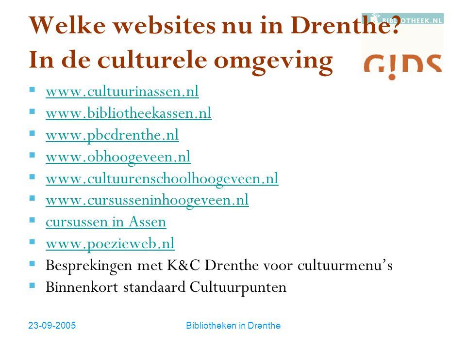 23-09-2005Bibliotheken in Drenthe Welke websites nu in Drenthe? In de culturele omgeving  www.cultuurinassen.nl www.cultuurinassen.nl  www.bibliothe