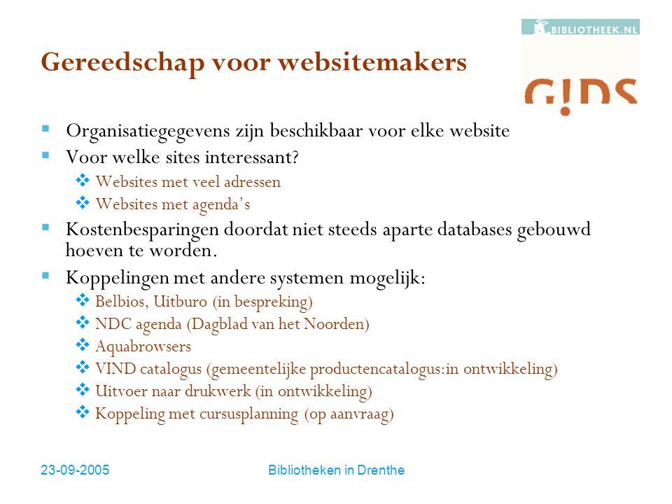 23-09-2005Bibliotheken in Drenthe Gereedschap voor websitemakers  Organisatiegegevens zijn beschikbaar voor elke website  Voor welke sites interessa