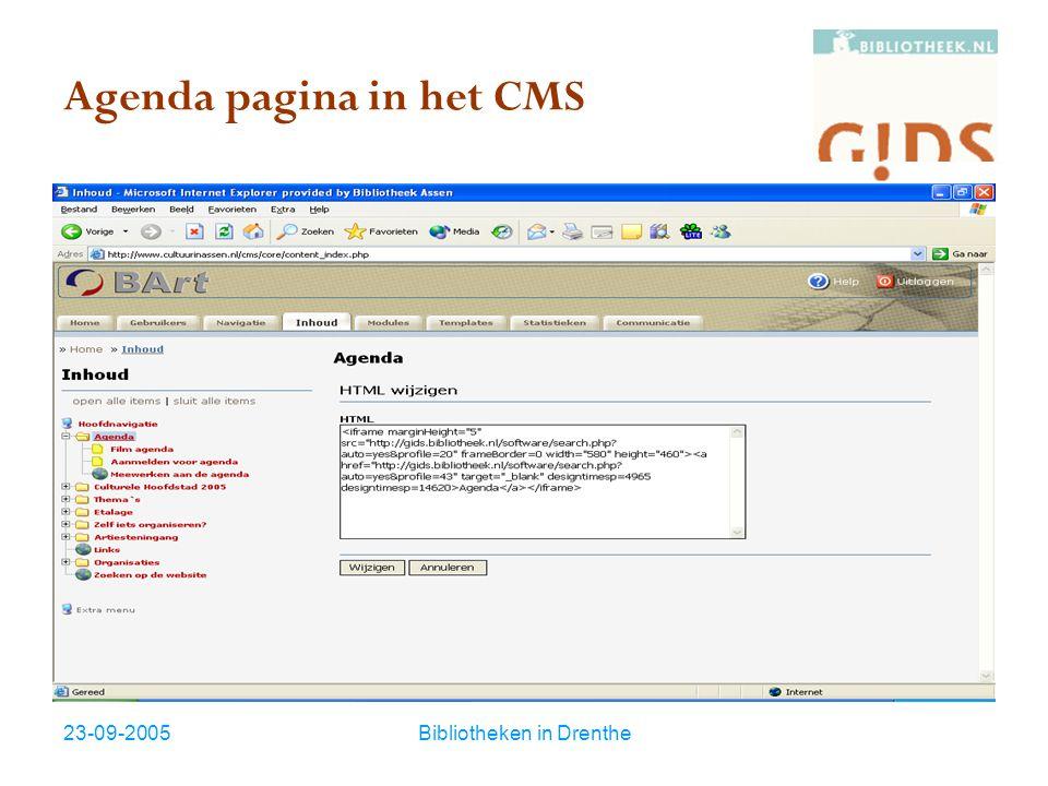 23-09-2005Bibliotheken in Drenthe Agenda pagina in het CMS