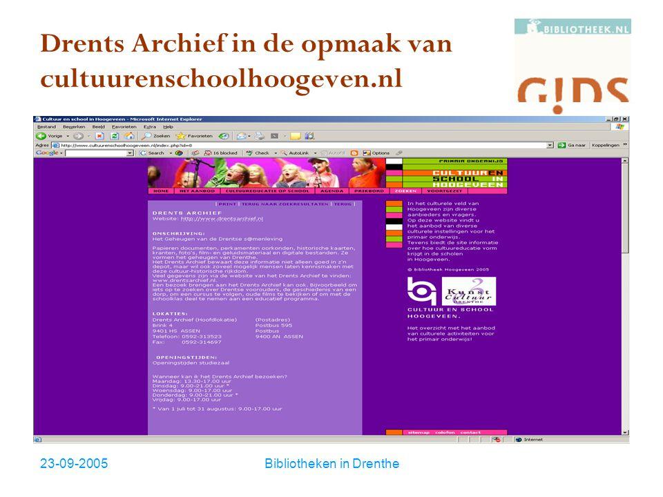 23-09-2005Bibliotheken in Drenthe Kant en klaar  Hulpmiddelen voor bouwen website  CMS BART met standaard G!DS functionaliteit vanaf € 750 per jaar (juli 2005)  Kant en klaar Generieke websites met Content Management Systeem compleet met standaard inhoud en G!DS profielen.
