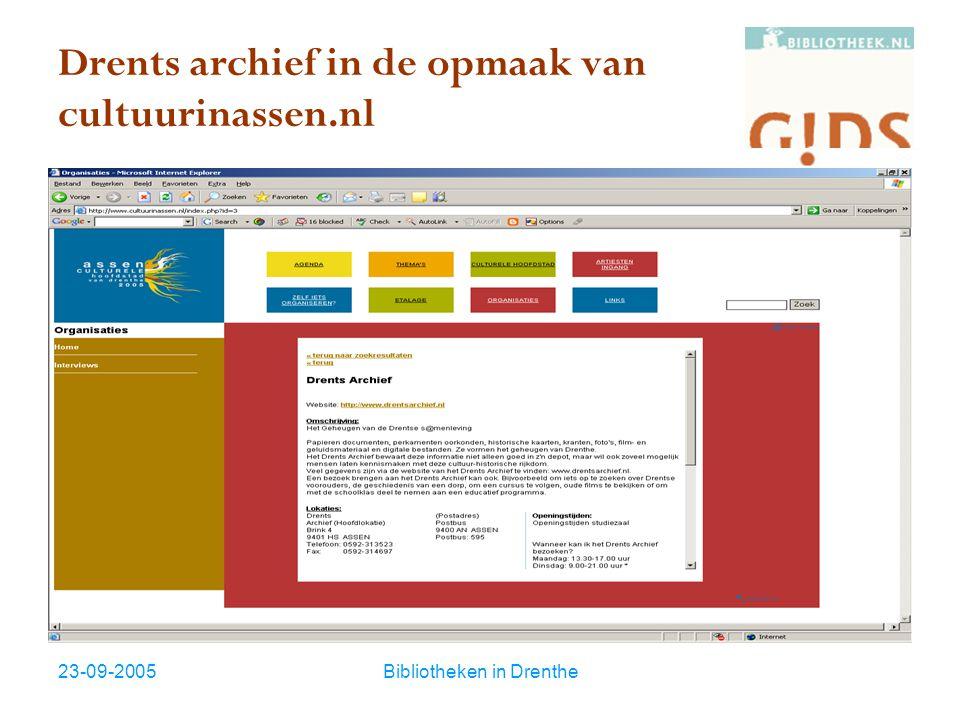 23-09-2005Bibliotheken in Drenthe Waarom door bibliotheken.