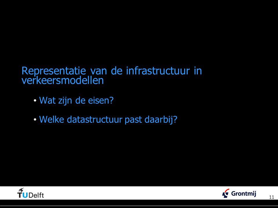 11 Representatie van de infrastructuur in verkeersmodellen Wat zijn de eisen.
