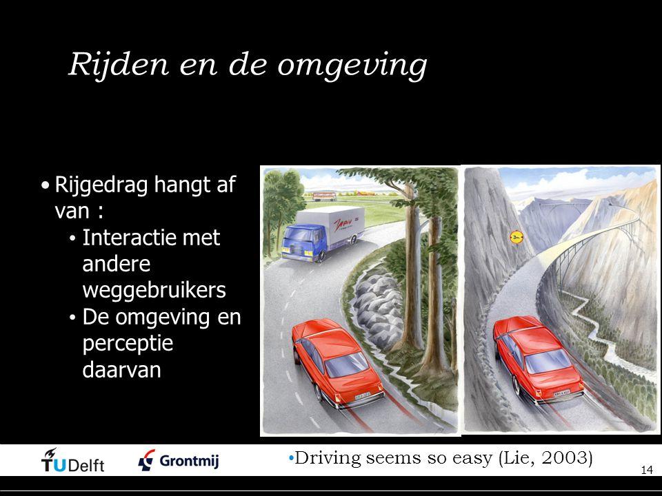 14 Rijden en de omgeving Rijgedrag hangt af van : Interactie met andere weggebruikers De omgeving en perceptie daarvan 14 Driving seems so easy (Lie, 2003)
