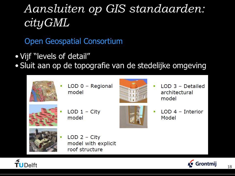 18 Aansluiten op GIS standaarden: cityGML Vijf levels of detail Sluit aan op de topografie van de stedelijke omgeving 18 Open Geospatial Consortium