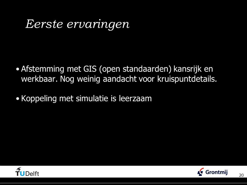 20 Eerste ervaringen Afstemming met GIS (open standaarden) kansrijk en werkbaar.