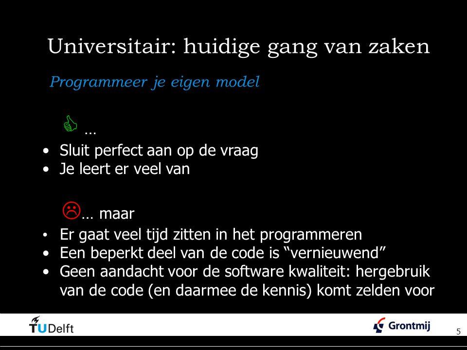 5 Universitair: huidige gang van zaken 5 Programmeer je eigen model  … Sluit perfect aan op de vraag Je leert er veel van  … maar Er gaat veel tijd zitten in het programmeren Een beperkt deel van de code is vernieuwend Geen aandacht voor de software kwaliteit: hergebruik van de code (en daarmee de kennis) komt zelden voor