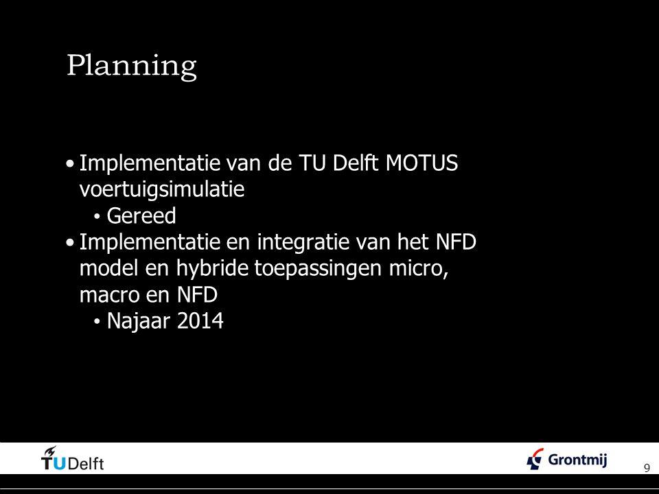 9 Planning Implementatie van de TU Delft MOTUS voertuigsimulatie Gereed Implementatie en integratie van het NFD model en hybride toepassingen micro, macro en NFD Najaar 2014 9