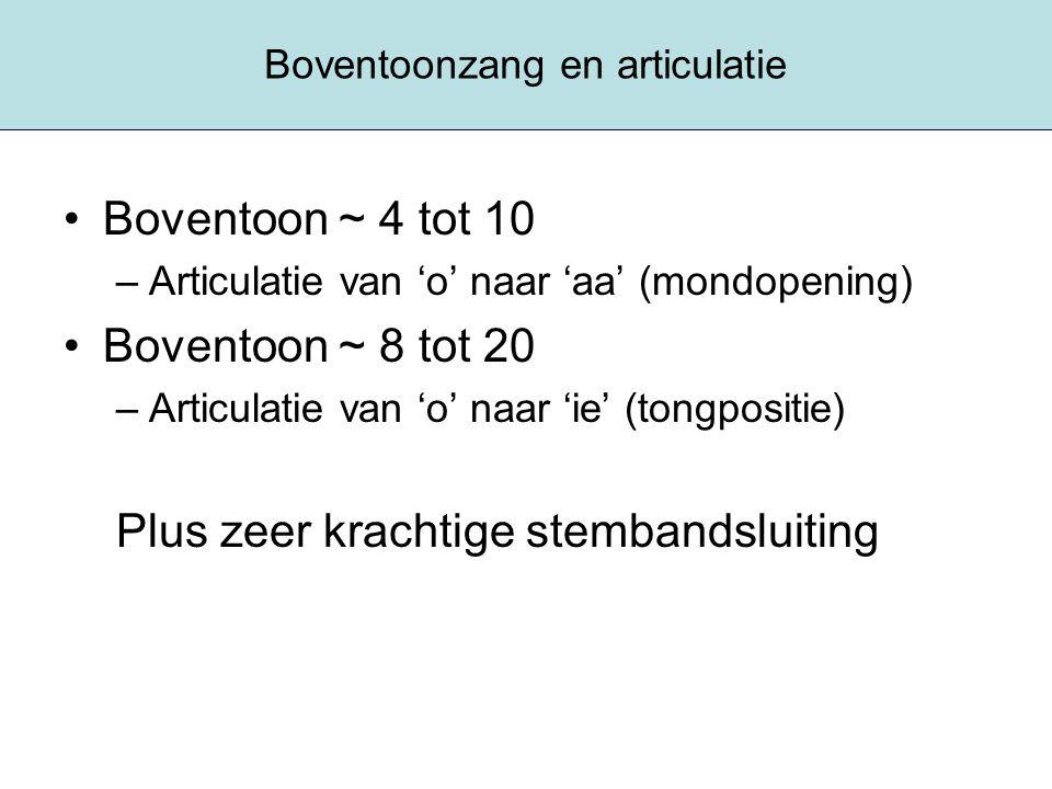Boventoonzang en articulatie Boventoon ~ 4 tot 10 –Articulatie van 'o' naar 'aa' (mondopening) Boventoon ~ 8 tot 20 –Articulatie van 'o' naar 'ie' (to