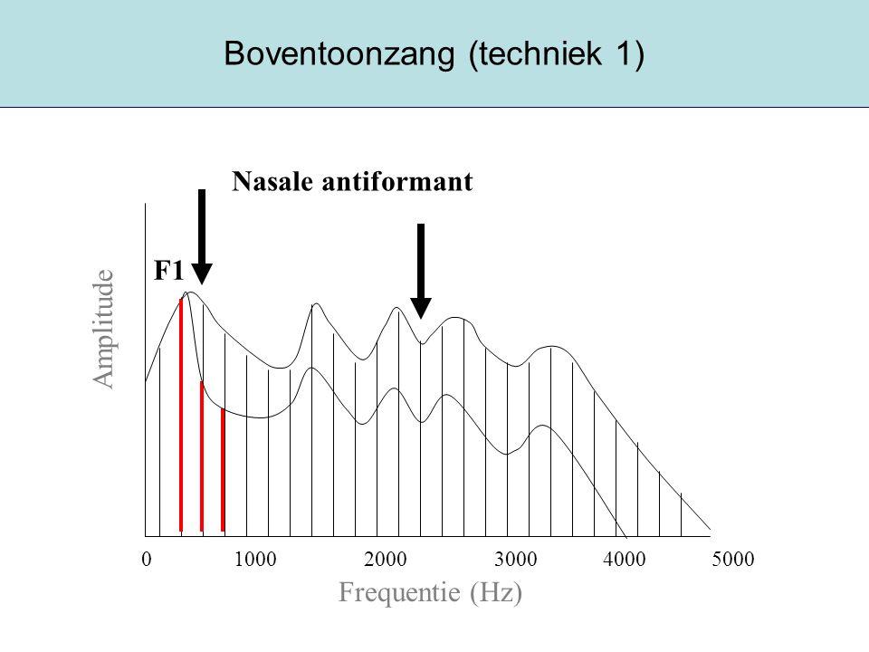 Boventoonzang (techniek 1) Frequentie (Hz) Amplitude 0 1000 2000 3000 4000 5000 F1 Nasale antiformant