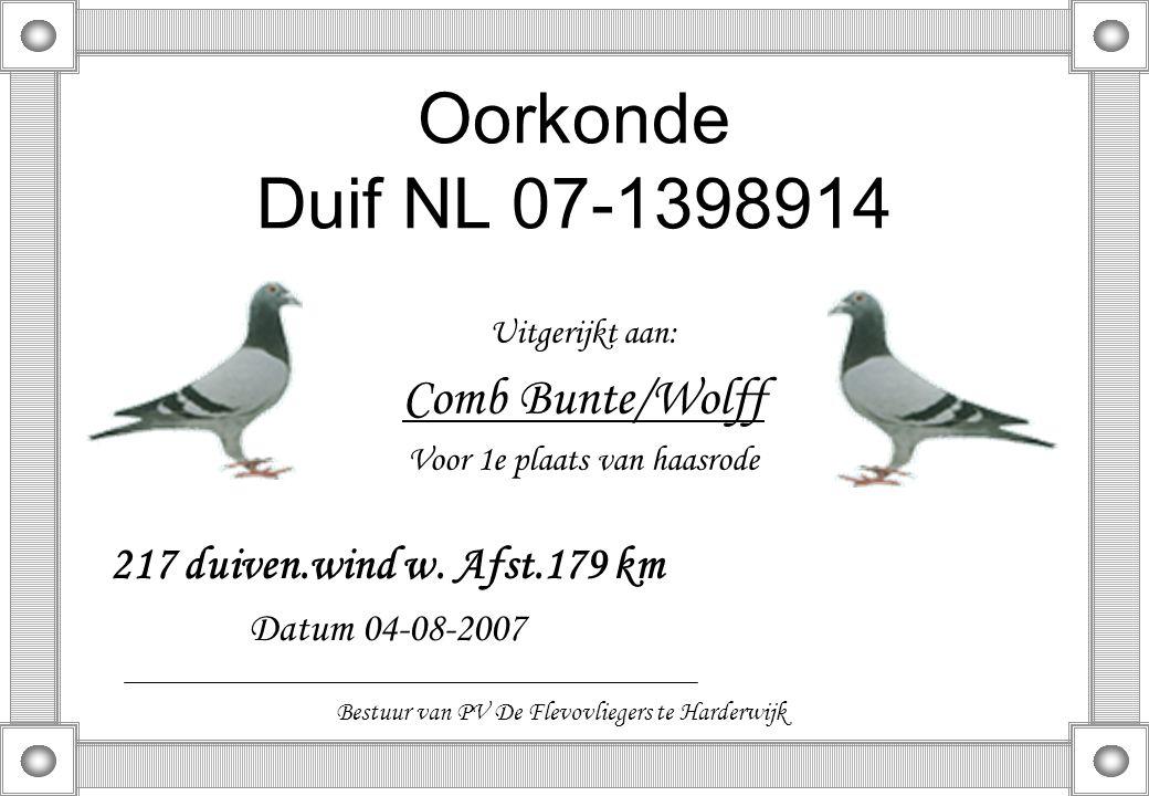Oorkonde Duif NL 07-1398914 Uitgerijkt aan: Comb Bunte/Wolff Voor 1e plaats van haasrode 217 duiven.wind w. Afst.179 km Datum 04-08-2007 Bestuur van P