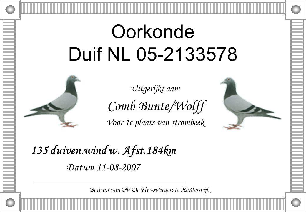 Oorkonde Duif NL 05-2133578 Uitgerijkt aan: Comb Bunte/Wolff Voor 1e plaats van strombeek 135 duiven.wind w. Afst.184km Datum 11-08-2007 Bestuur van P