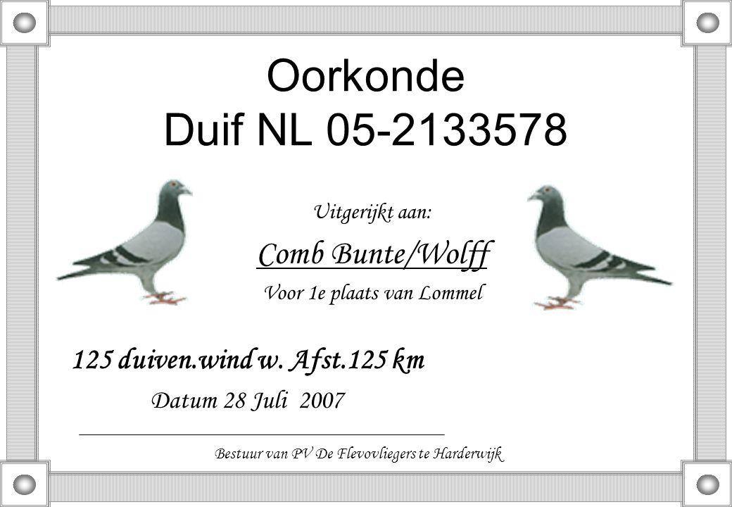 Oorkonde Duif NL 05-2133578 Uitgerijkt aan: Comb Bunte/Wolff Voor 1e plaats van Lommel 125 duiven.wind w. Afst.125 km Datum 28 Juli 2007 Bestuur van P