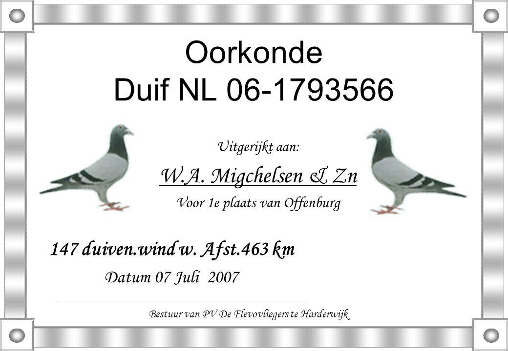 Oorkonde Duif NL 06-1793566 Uitgerijkt aan: W.A. Migchelsen & Zn Voor 1e plaats van Offenburg 147 duiven.wind w. Afst.463 km Datum 07 Juli 2007 Bestuu