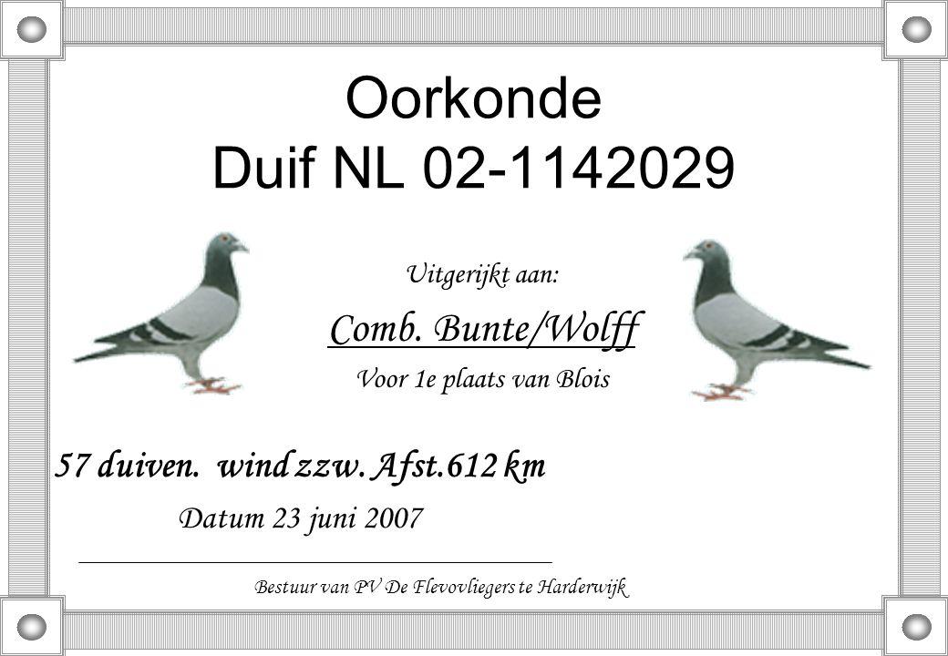 Oorkonde Duif NL 02-1142029 Uitgerijkt aan: Comb. Bunte/Wolff Voor 1e plaats van Blois 57 duiven. wind zzw. Afst.612 km Datum 23 juni 2007 Bestuur van