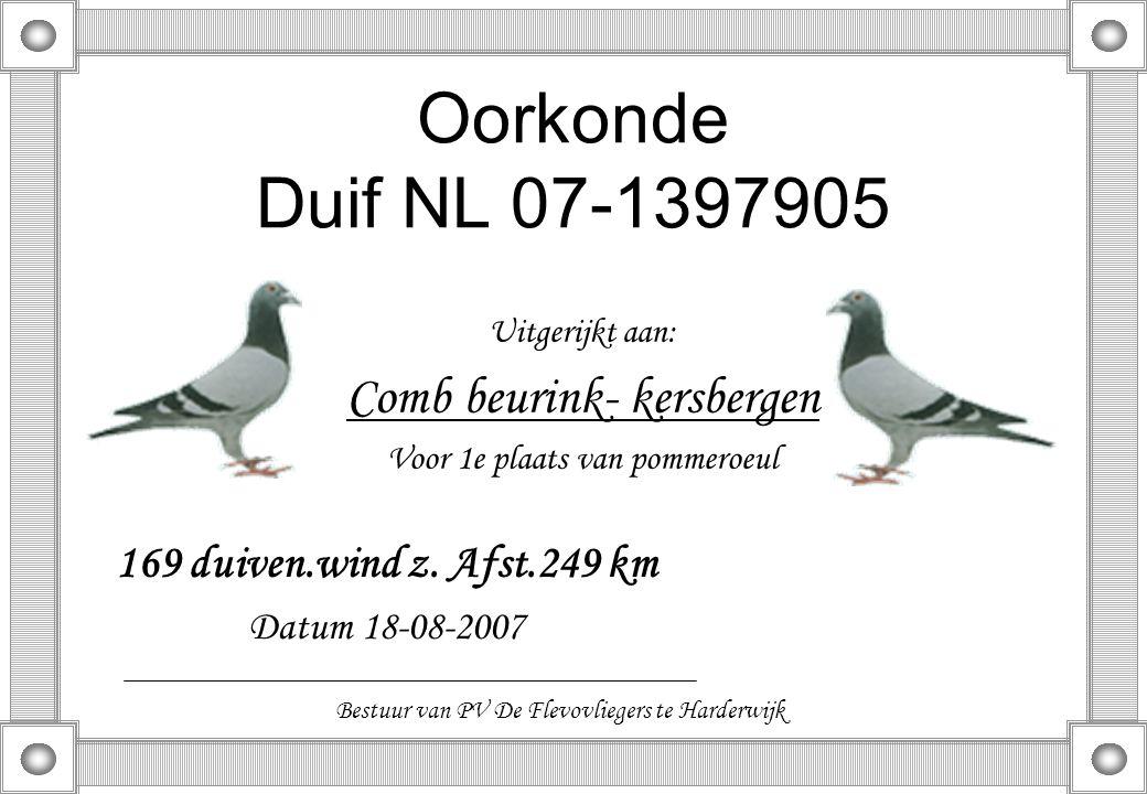 Oorkonde Duif NL 07-1397905 Uitgerijkt aan: Comb beurink- kersbergen Voor 1e plaats van pommeroeul 169 duiven.wind z. Afst.249 km Datum 18-08-2007 Bes