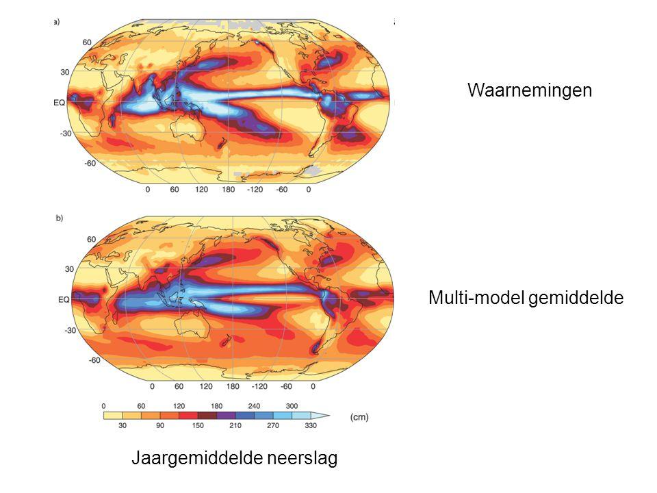 Jaargemiddelde neerslag Waarnemingen Multi-model gemiddelde