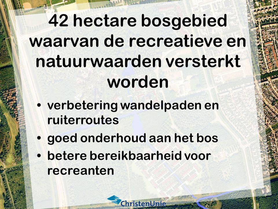 42 hectare bosgebied waarvan de recreatieve en natuurwaarden versterkt worden verbetering wandelpaden en ruiterroutes goed onderhoud aan het bos betere bereikbaarheid voor recreanten