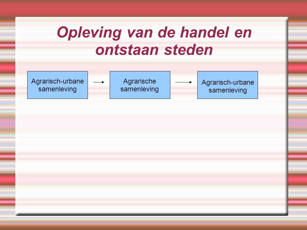 Opleving van de handel en ontstaan steden Agrarisch-urbane samenleving Agrarische samenleving Agrarisch-urbane samenleving