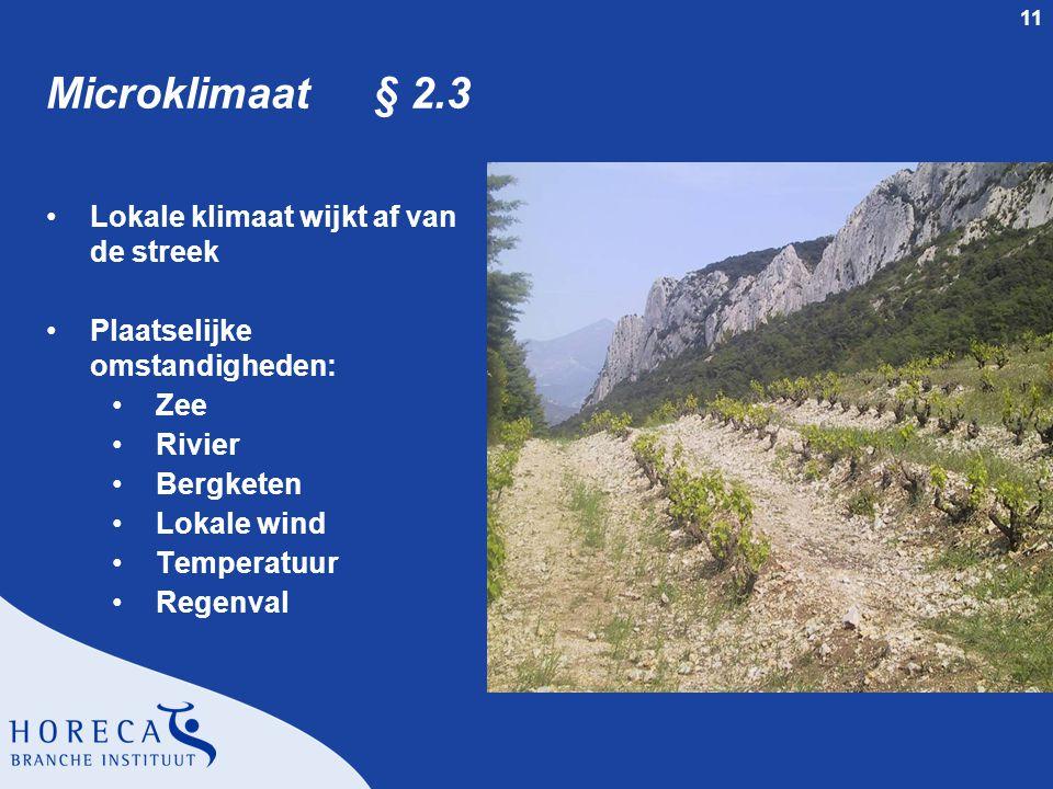 11 Microklimaat § 2.3 Lokale klimaat wijkt af van de streek Plaatselijke omstandigheden: Zee Rivier Bergketen Lokale wind Temperatuur Regenval