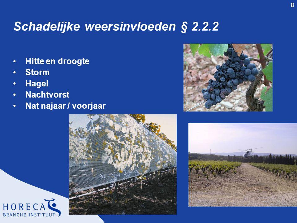 8 Schadelijke weersinvloeden § 2.2.2 Hitte en droogte Storm Hagel Nachtvorst Nat najaar / voorjaar