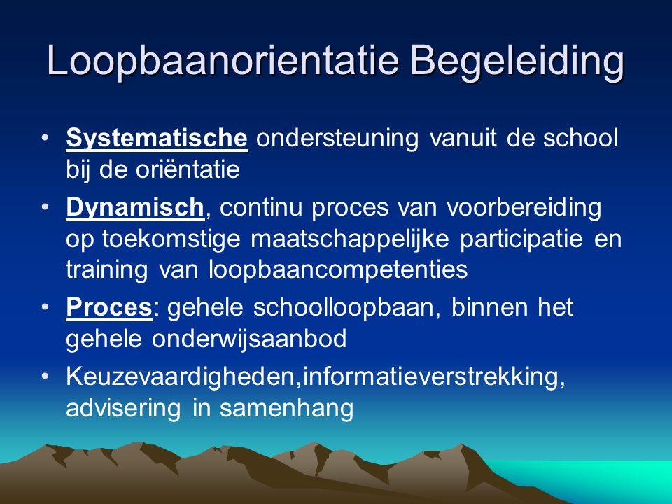 Loopbaanorientatie Begeleiding Systematische ondersteuning vanuit de school bij de oriëntatie Dynamisch, continu proces van voorbereiding op toekomsti