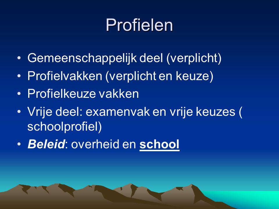 Profielen Gemeenschappelijk deel (verplicht) Profielvakken (verplicht en keuze) Profielkeuze vakken Vrije deel: examenvak en vrije keuzes ( schoolprof
