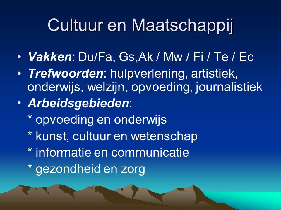Cultuur en Maatschappij Vakken: Du/Fa, Gs,Ak / Mw / Fi / Te / Ec Trefwoorden: hulpverlening, artistiek, onderwijs, welzijn, opvoeding, journalistiek A