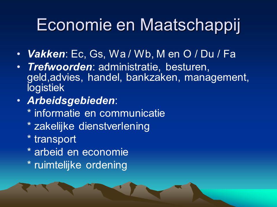Economie en Maatschappij Vakken: Ec, Gs, Wa / Wb, M en O / Du / Fa Trefwoorden: administratie, besturen, geld,advies, handel, bankzaken, management, l