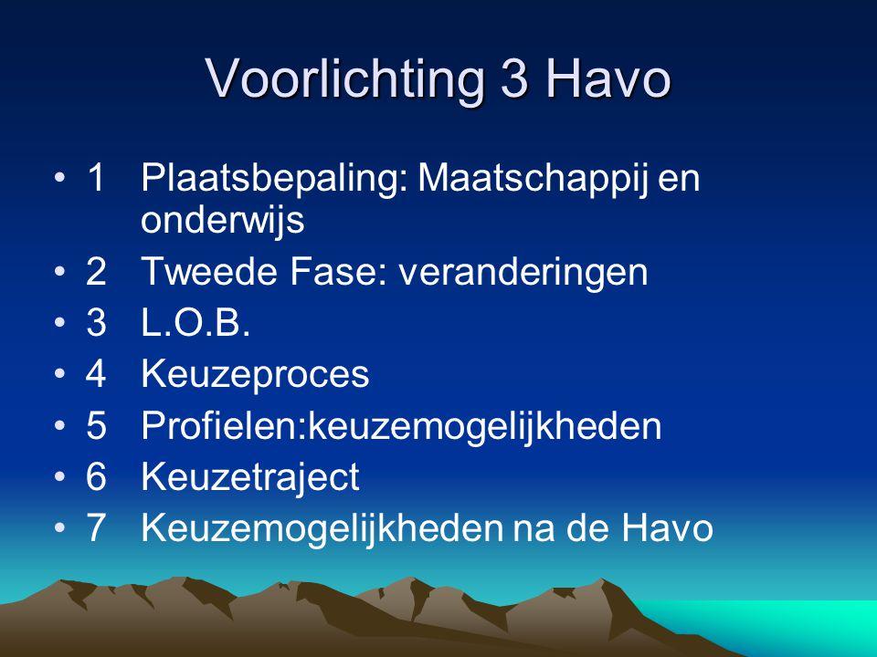 Voorlichting 3 Havo 1Plaatsbepaling: Maatschappij en onderwijs 2Tweede Fase: veranderingen 3L.O.B. 4Keuzeproces 5Profielen:keuzemogelijkheden 6Keuzetr