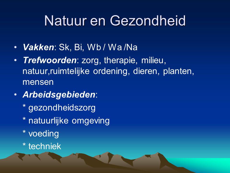 Natuur en Gezondheid Vakken: Sk, Bi, Wb / Wa /Na Trefwoorden: zorg, therapie, milieu, natuur,ruimtelijke ordening, dieren, planten, mensen Arbeidsgebi